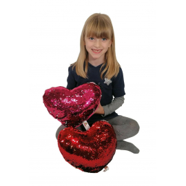 2x Reversible Sequin Cushion Pink + Red Heart 30 cm Valentine's Day Gift