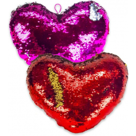 2x Reversible Sequin Cushion Pink + Red Heart 17 cm Valentine's Day Gift