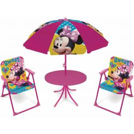 Minnie Mouse Salotto da Giardino,Terrazza set 4 pezzi, 2 sedie, tavolo, ombrellone