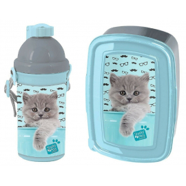 Sweet Pink Cat Breakfast Set Snack Box, Automatic School Bottle