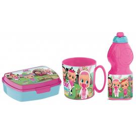 Cry Babies Set Breakfast Snack Box + Bottle + Cup - School glass