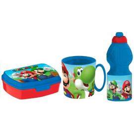 Super Mario Set Breakfast Snack Box + Bottle + Cup - School glass