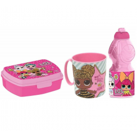 Minnie Mouse Elettric Set Breakfast Snack Box + Bottle + Cup - School glass