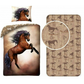 Drawing Horse 3Pezzi Single Bed Set Duvet Cover, Pillowcase + Sheets with Corners
