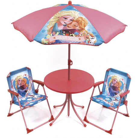 Frozen Elsa Garden Lounge, Terrace set 4 pieces, 2 chairs, table, umbrella