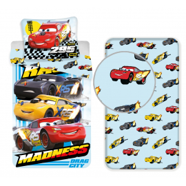 Disney Cars Blue 3 Pieces Set Single Bed Duvet Cover, Pillowcase + Sheets under