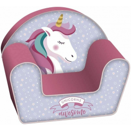 Unicorn Single Sofa Armchair, Foam Removable Pouf for Children