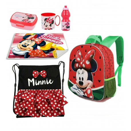 Minnie Mouse Eletric Doll Glitter Disney Schoolbag Backpack set School kindergarten 5pezzi
