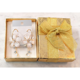 Summer Flower Large Hoop Earrings with Crystals for Women