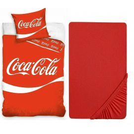 Coca Cola Set 3pezzi Letto Singolo Copripiumino 140-200cm,Federa,Lenzuola c/angoli