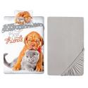 Dog Cat 3 Pieces Set Single Bed Duvet Cover, Pillowcase + Sheets under