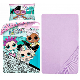 LOL Surprise Bright 3 Pieces Set Single Bed Duvet Cover, Pillowcase + Sheets under