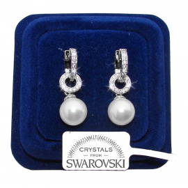 Pearl earrings woman pendant pl. 18K White gold with SW / 13 Swarovski crystals