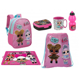 LOL Surprise Glitter Schoolbag Backpack + Sports Bag set School kindergarten 6 pieces