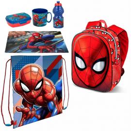 Spiderman Set 6 pezzi Zainetto Zaino 3D,Sacca Sport,Portamerenda Scuola Asilo