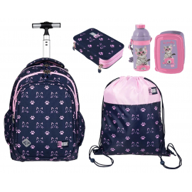St.Right Cats Set Backpack Trolley School Trolley for Girl