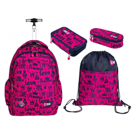 St.Right Princess Love Set Backpack Trolley School Trolley for Girl