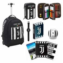 Big Trolley Juventus Coaches, 35 Lt, Black and White, Retractable Shoulders, School & Travel