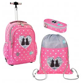 Sweet Kitty Pink Cat Set Trolley Backpack, Sports Bag, Snack Gate, Elementary School Media Girl, Little Girl