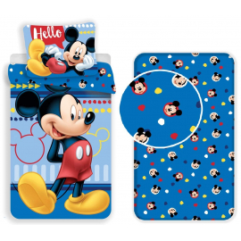 Mickey Mouse Hello 3 Pieces Set Single Bed Duvet Cover, Pillowcase + Sheets under