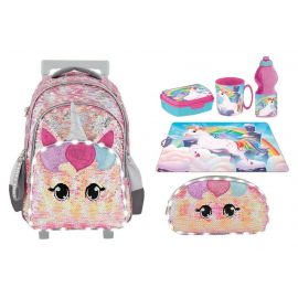 Footy Unicorn Led set Large Elementary School Trolley Backpack for Girls