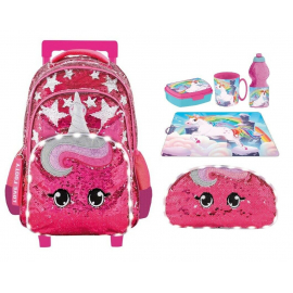 Footy Unicorn Sequin Led set Large Elementary School Trolley Backpack for Girls