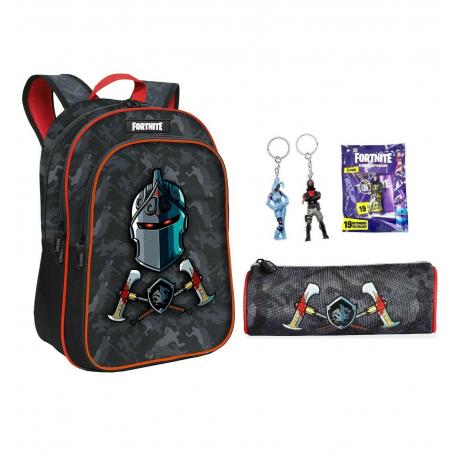Fortnite Black Night set Backpack + Case + Keychain Blade, Medium School, High School Boy