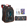 Fortnite Black Night set Backpack + Case + Keychain Blade, Medium School, High School Boy