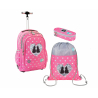 St.Right Sweet Kitty Set Backpack Trolley School Trolley for Girl