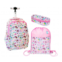 St.Right Sweet e Pink Unicorn Set Backpack Trolley School Trolley for Girl