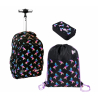 St.Right Rainbow Unicorno Black Set Backpack Trolley School Trolley for Girl