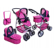 Super Toys Large Pram Stroller for Dolls 8 Functions Game Girl Blue Butterfly