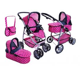 Super Toys Grande Carrozzina Passeggino per Bambole 8 Funzioni Gioco Bambina Rosa Pois Nero
