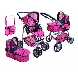Super Toys Large Pram Stroller for Dolls 8 Functions Game Girl Noir