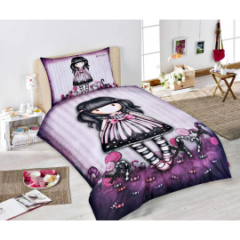 Gorjuss Single Bed Set Duvet Cover 140x200 + Pillowcase Doll Purple