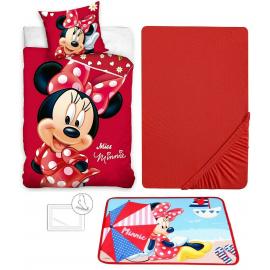 Minnie Mouse Disney 4 Pieces Set Single Bed Duvet Cover, Pillowcase + Sheets under + Carpet