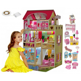 Giant Dollhouse Wooden House 90cm with Led Light and Furniture set 18pcs