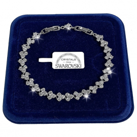 Tennis Bracelet 18k gold woman, bracelet c / White Swarovski Elements