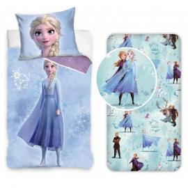 Frozen Snowflake 3Pezzi Set Letto Singolo 140x200cm Copripiumino + Federa Italiana + Lenzuola con Angoli