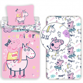 Peppa Pig new 3 Pieces Set Single Bed Duvet Cover, Pillowcase + Sheets under