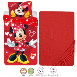 Disney Minnie Mouse 3 Pieces Set Child Bed Duvet Cover, Pillowcase + Sheets under