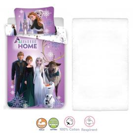 Disney Frozen Pink 3 Pieces Set Child Bed Duvet Cover, Pillowcase + Sheets under