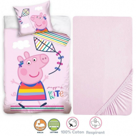 Masha e Orso 3 Pieces Set Child Bed Duvet Cover, Pillowcase + Sheets under