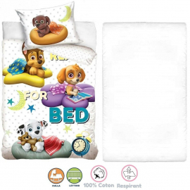 Paw Patrol 3 Pieces Set Child Bed Duvet Cover, Pillowcase + Sheets under