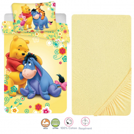 Winnie the Pooh 3 Pieces Set Child Bed Duvet Cover, Pillowcase + Sheets under