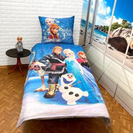 Frozen Family Faro Set lenzuola, Copripiumino 140x200 letto singolo 100% cotone Biancheria da letto