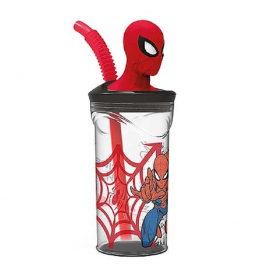 Spiderman 3D Cup with Figurine and Straw for Children