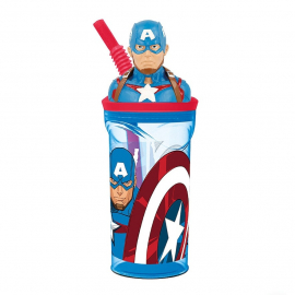 Capitan America 3D Cup with Figurine and Straw for Children