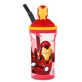 IRON MAN 3D Cup with Figurine and Straw for Children