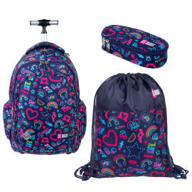St.Right Cats Holo Set Backpack Trolley School Trolley for Boys